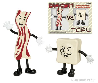 The epic struggle of Mr. Bacon vs. Monsieur Tofu, now available in action-figure form!