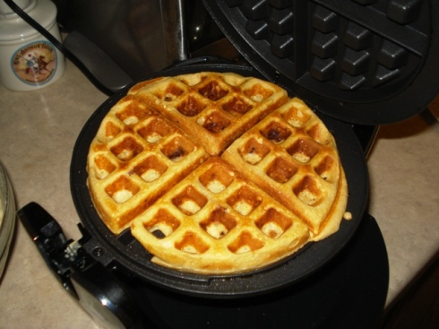 Behold! The first bacon waffle! (and there was much rejoicing)